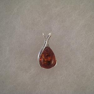Pendentif petite pierre d'ambre  - bijou ambre et argent