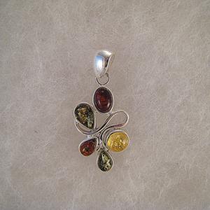 Pendentif tortillon boule multicolore  - bijou ambre et argent