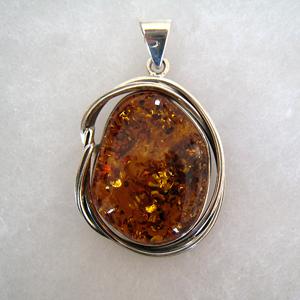 pendentif cabochon - bijou ambre et argent