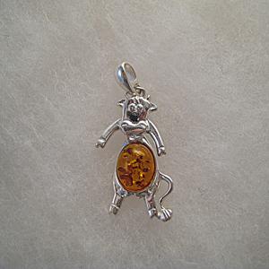 Pendentif vache - bijou ambre et argent