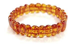 Bracelet ambre  elastique cognac - bijou ambre et argent