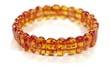 Bracelet ambre  elastique cognac