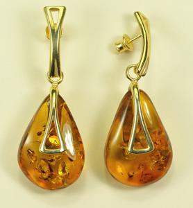 Boucles d'oreilles vermeil - bijou ambre et argent