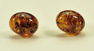 Puces ovale - bijou ambre et argent