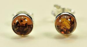 Boucles d'oreilles puces rondes - bijou ambre et argent