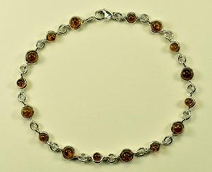Bracelet rond cognac - bijou ambre et argent