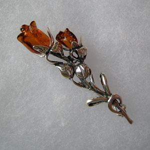 Broche rose duo - bijou ambre et argent