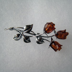 Broche rose triple - bijou ambre et argent