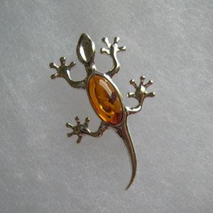 Broche salamandre - bijou ambre et argent