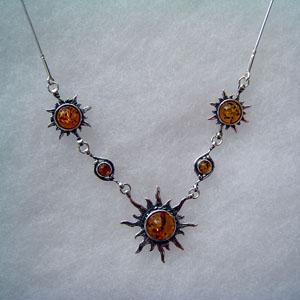 B23   Bague soleil - bijou ambre et argent