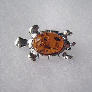 Broche tortue - bijou ambre et argent