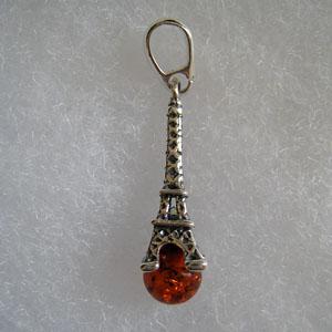 Pendentif tour eiffel pendentifs bijou ambre et argent - Nettoyer chaine en argent ...