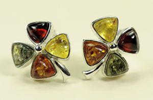 Trefles fixes - bijou ambre et argent