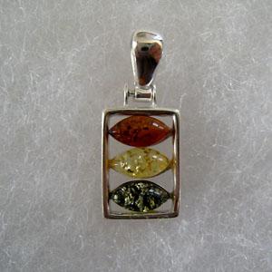 Pendentif trio - bijou ambre et argent