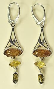 Boucles d'oreilles Trio long - bijou ambre et argent