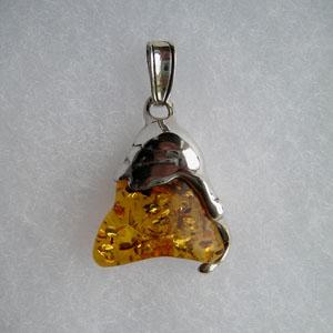 Pendentif  unique triangle - bijou ambre et argent