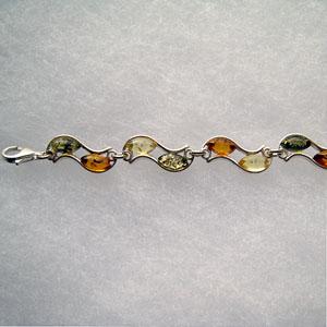 Bracelet Vagues - bijou ambre et argent