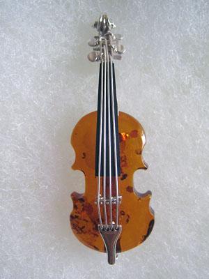 Broche violon - bijou ambre et argent