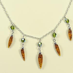 Collier Zara - bijou ambre et argent